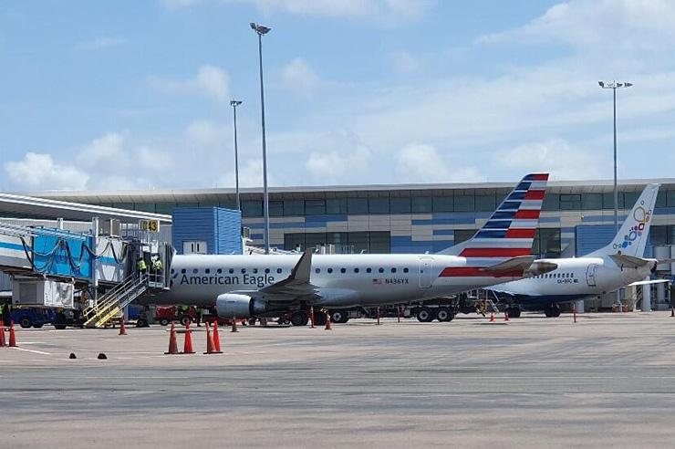 Jets docked at LPIA Airport, Nassau Transportation