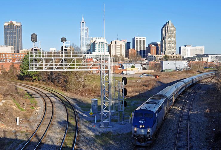 Amtrak Carolinian train leaving Raleigh