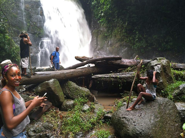 Friends at Davia Waterfall, Costa Rica