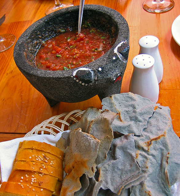 Casa Oaxaca restaurant serving blue tortillas and salsa