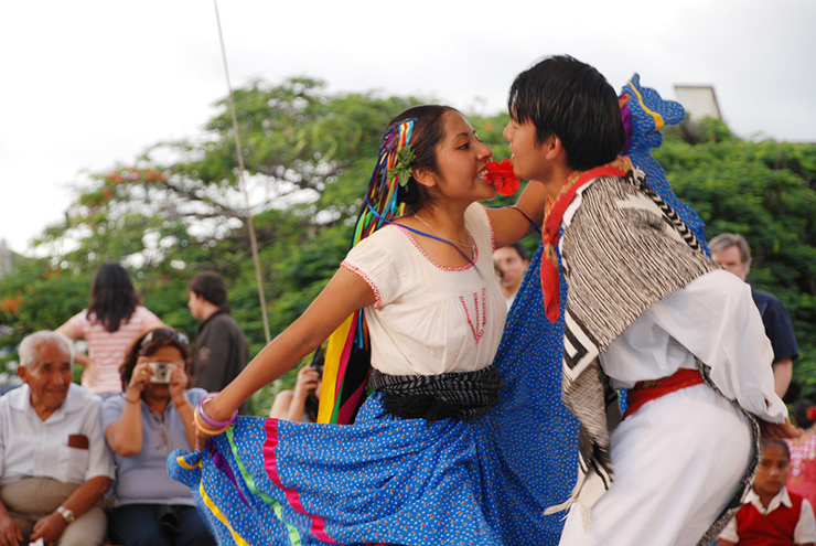 Two young people dancing a jarabe, Oaxaca Culture
