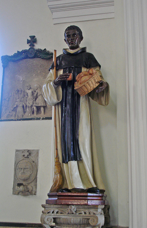 Black Saint statue in Cathedral of our Our Lady of Guadeloupe