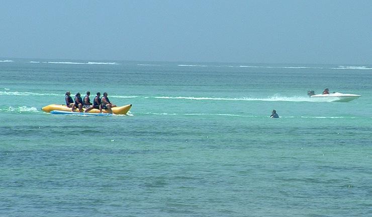 Riding a banana boat in Punta Cana Watersports