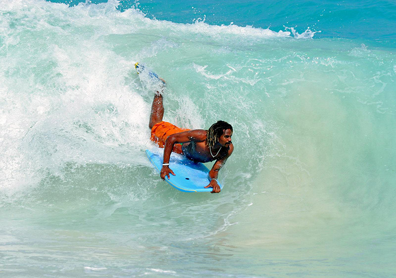 Boogie boarding in the Soup Bowl of Barbados