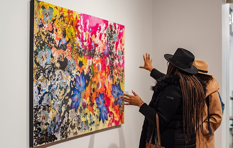 Appreciating an artwork gallery at Harvey Grant Center
