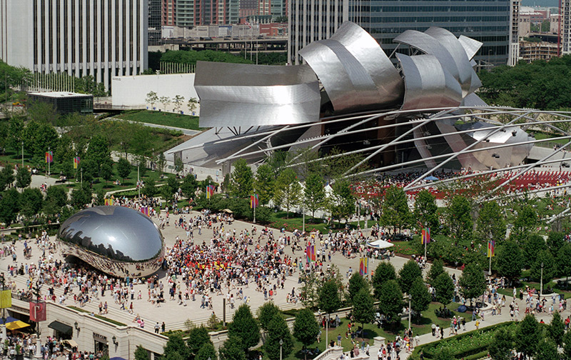 Millennium Park feating the Bean and Pritzker Pavillion