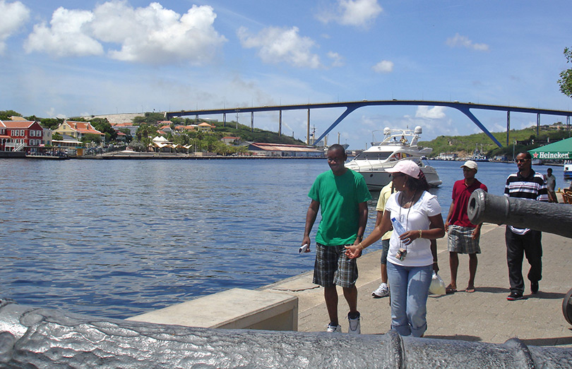 Walking by the waterfront canons of Curacao