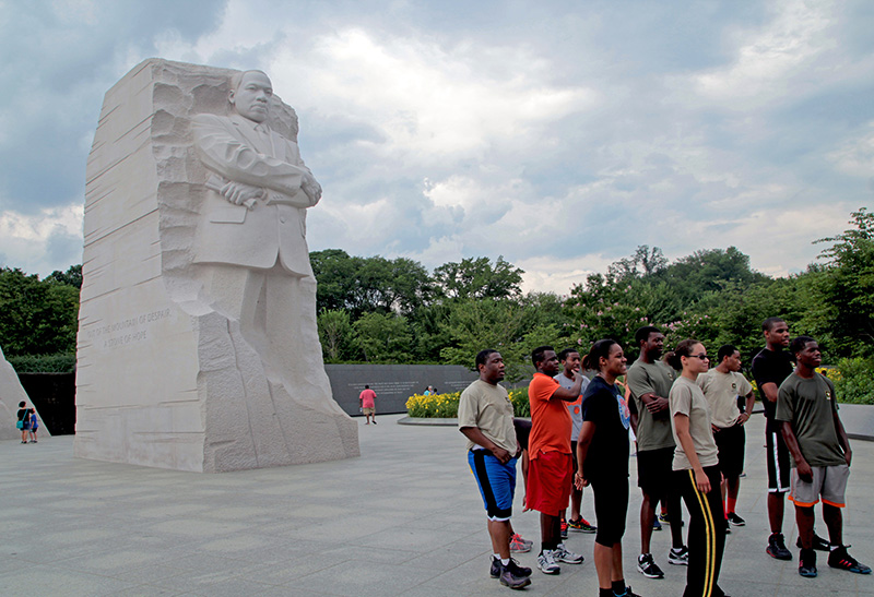 Kids inspired by the Martin Luther King Monument in Washington DC
