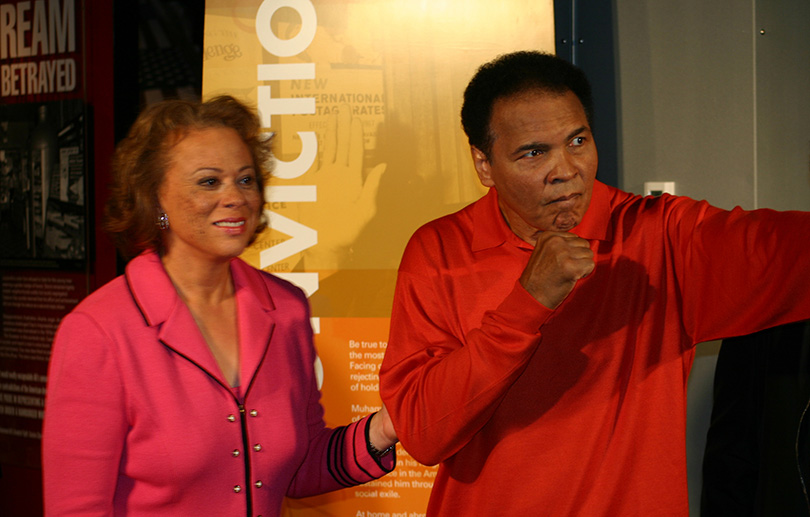 Lonnie and Muhammad at the Muhammad Ali Center dedication in Louisville