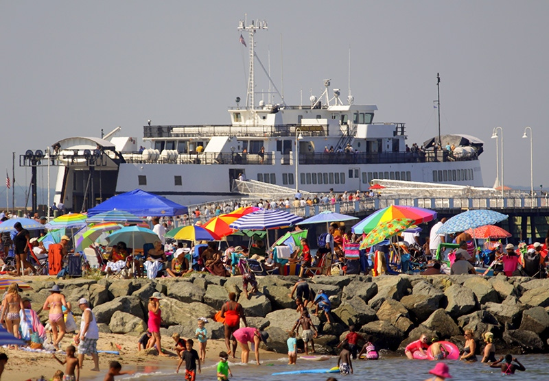 A busy summer day at Inkwell Beach on Martha's Vineyard