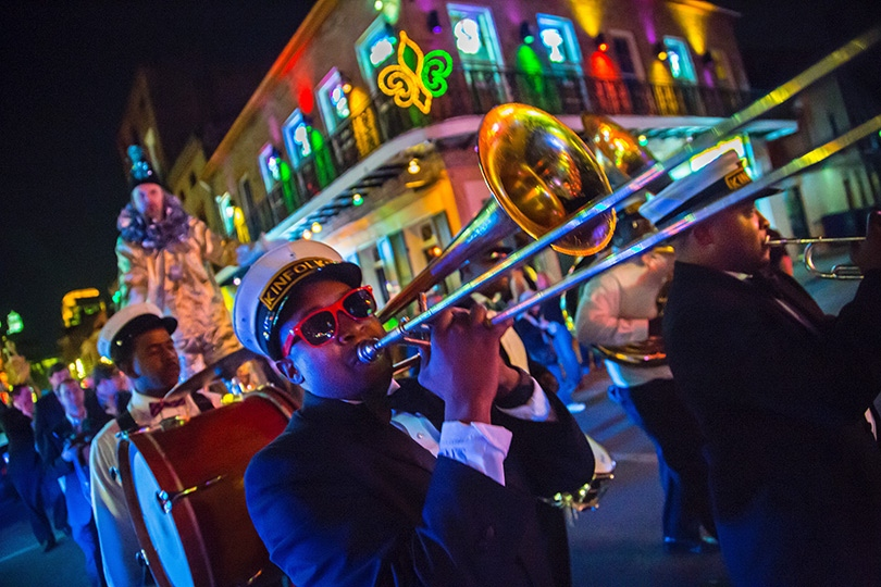 Brass Bands performing in the French Quarter of New Orleans are frequent and welcome