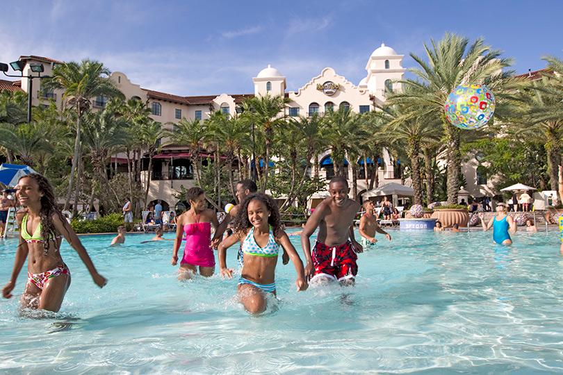 Family enjoying the pool at Hard Rock Hotel, Orlando