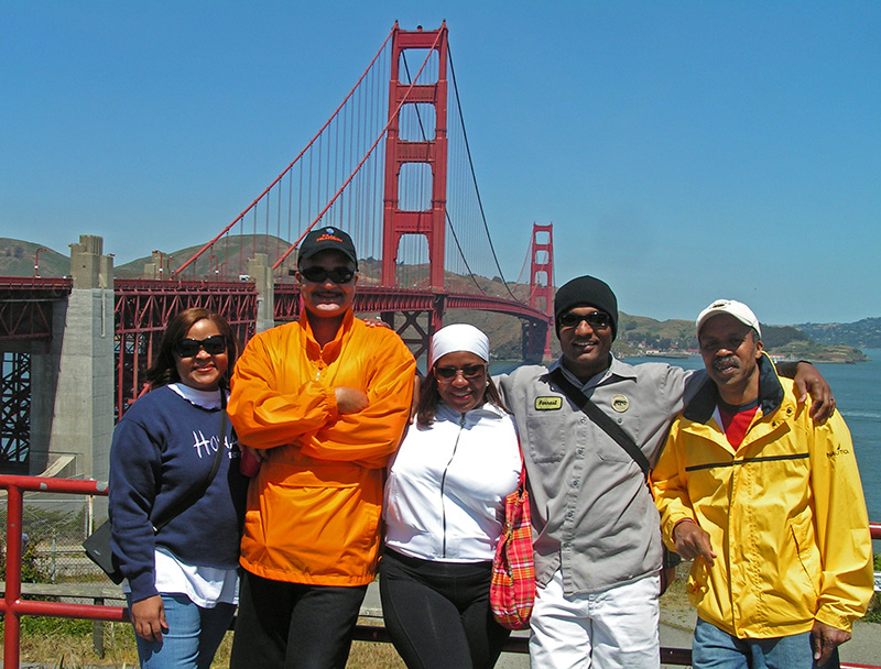 Friends at the entrance to Golden Gate Bridge in San Francisco