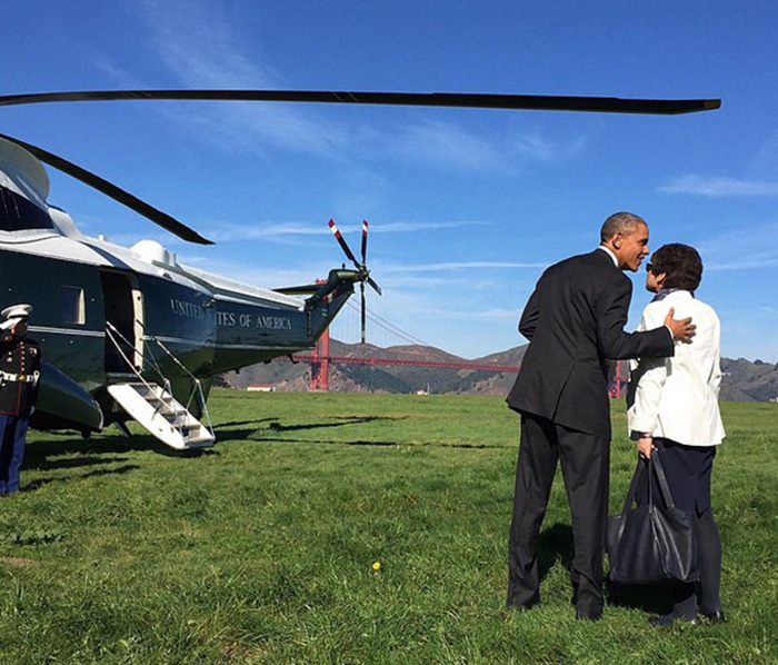 President Obama visting Crissy Field in San Francisco