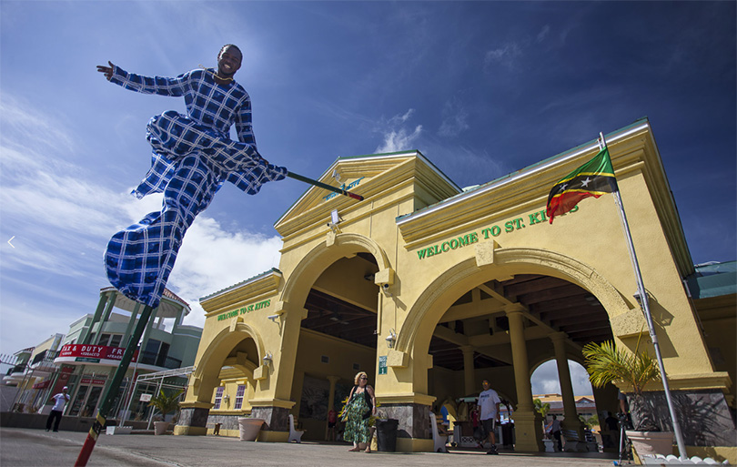 St. Kitts man on Mocko-Jumpie welcomes you at the port