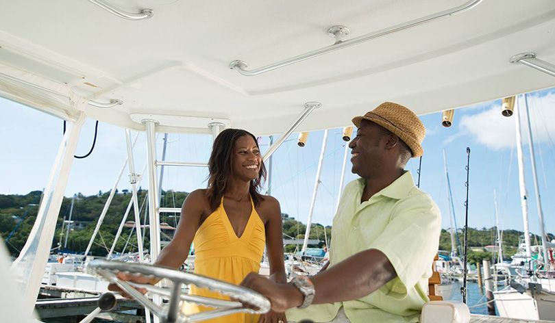 A charter boat captain and guest in Yacht Haven, St. Thomas