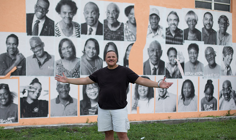 Thomas Dorsey visiting the mural aside Westside Gazette Bldg