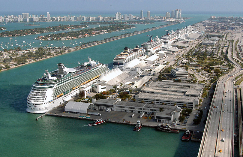 Cruise ship line-up at PortMiami