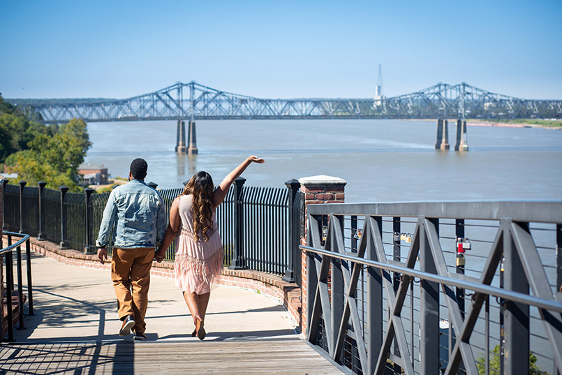 Couple walking Natchez Bluff Trail