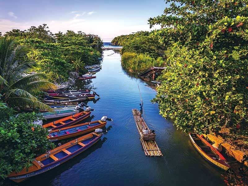 Traditional Jamaican river-rafting near Ocho Rios
