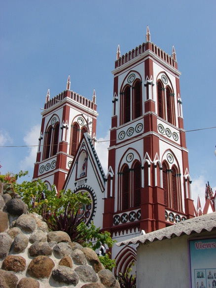 The towers of Sacred Heart Church