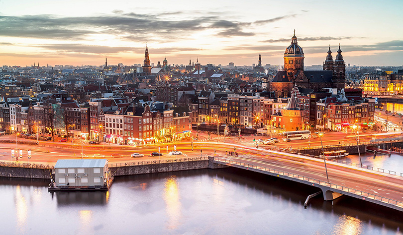 Amsterdam skyline, evening