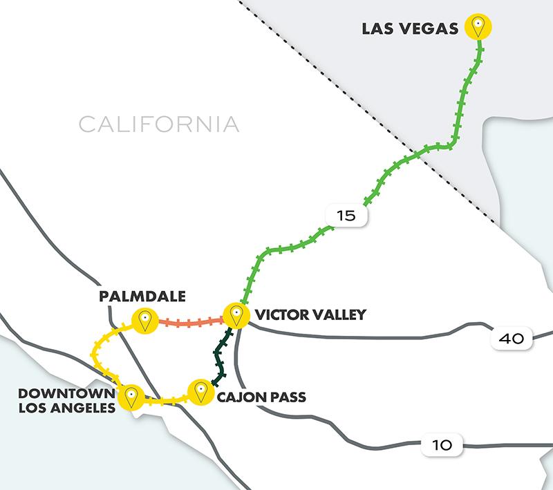 2021 Las Vegas-Downtown Los Angeles HSR Map