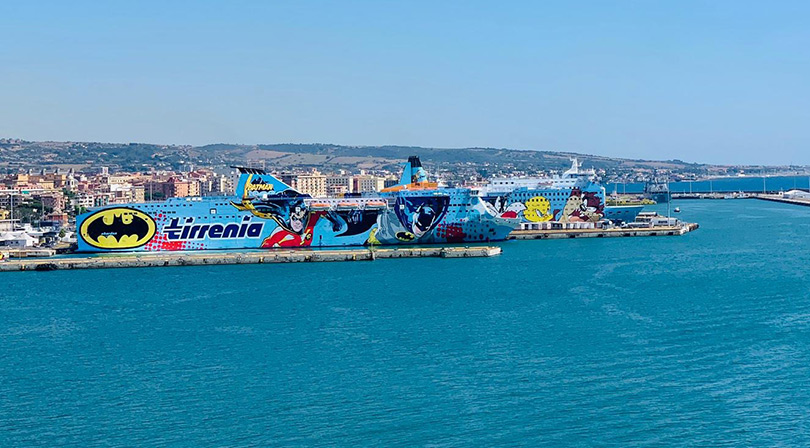 Cruise ships at the port near Rome