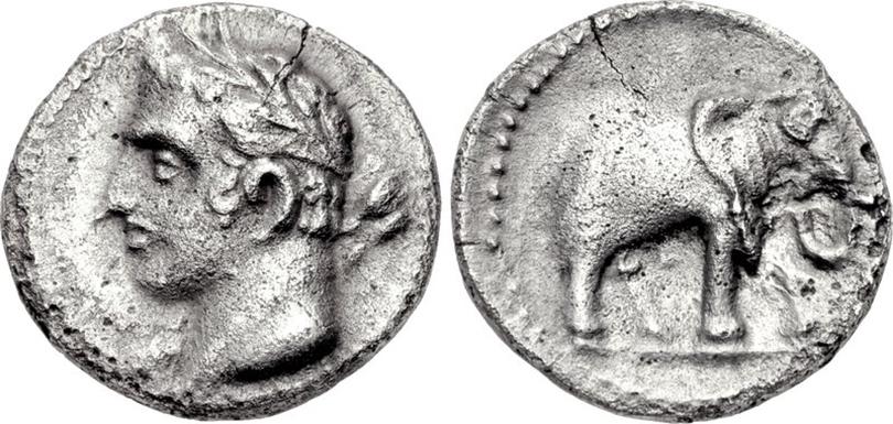 Hannibal on a Spanish quarter-shekel, 237-209 BC